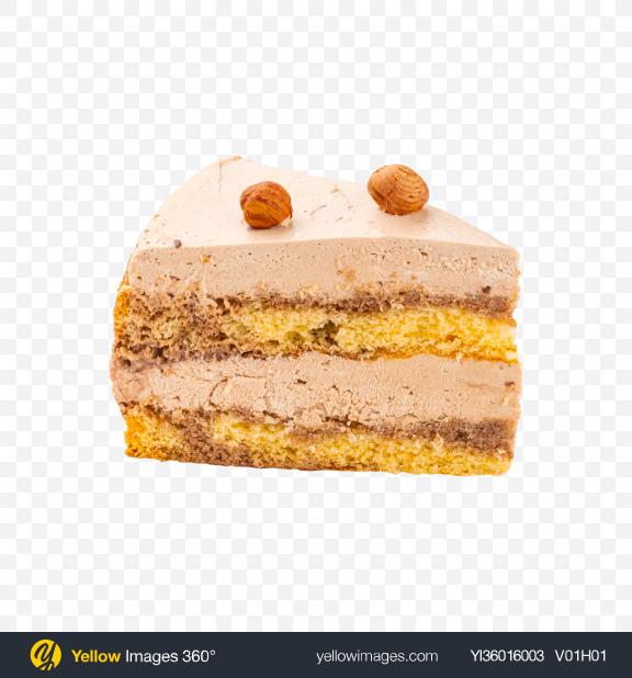 Download Hazelnut Tiramisu Cake w/ Curd Cream Slice Transparent PNG on YELLOW Images