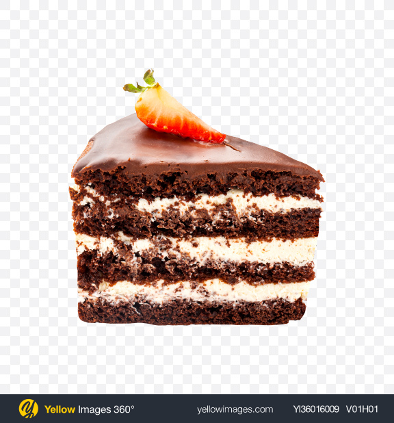 Download Chocolate Cake w/ Cream Slice Transparent PNG on YELLOW Images