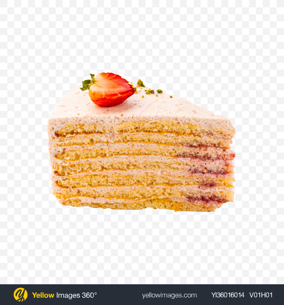 Download Strawberry Cake w/ Cheese Cream Slice Transparent PNG on YELLOW Images