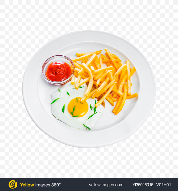 Download Fried Egg w/ French Fries Transparent PNG on YELLOW Images