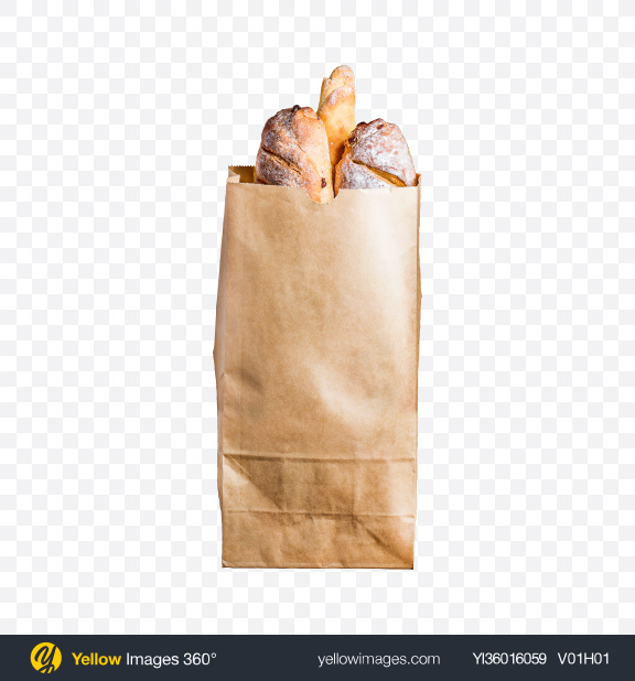 Download Bread in Kraft Bag Transparent PNG on YELLOW Images