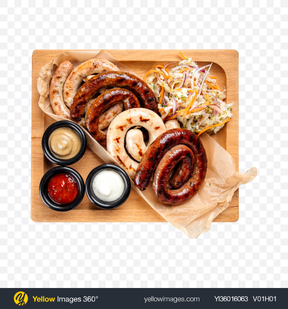 Download Grilled Sausages w/ Sauerkraut and Sauces Transparent PNG on YELLOW Images