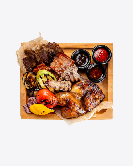 Hot Barbecue Meat and Vegetables Plateau