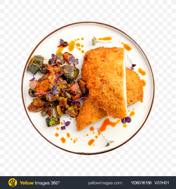Download Fried Meat w/ Baked Vegetables Transparent PNG on YELLOW Images