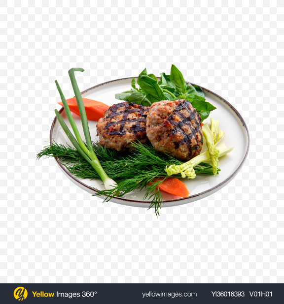 Download Roasted Cutlets w/ Greens Transparent PNG on YELLOW Images