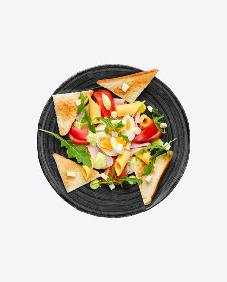 Boiled Eggs w/ Toast Slices, Cheddar, Ham & Tomato