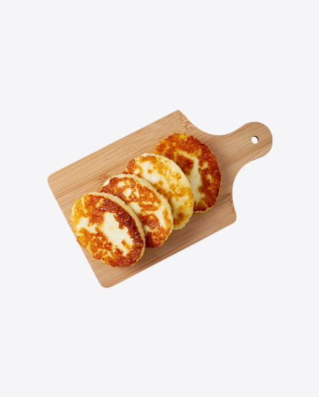 Fried Cheese on Wooden Board