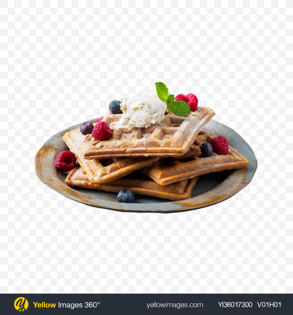 Download Waffles w/ Berries & Ice Cream Transparent PNG on YELLOW Images