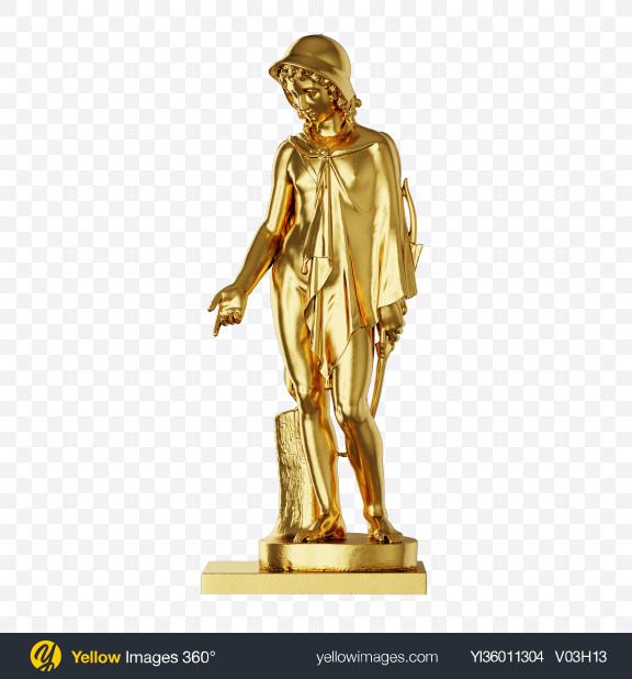 Download Golden Sculpture of Shepherd Transparent PNG on YELLOW Images