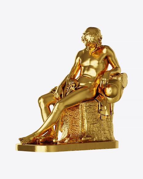 Golden Sleeping Shepherd Boy Sculpture