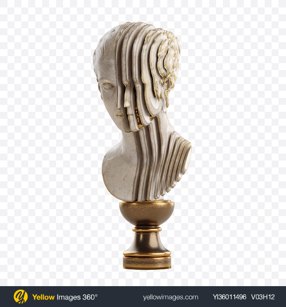Download Bust of Woman with Golden Details Transparent PNG on YELLOW Images
