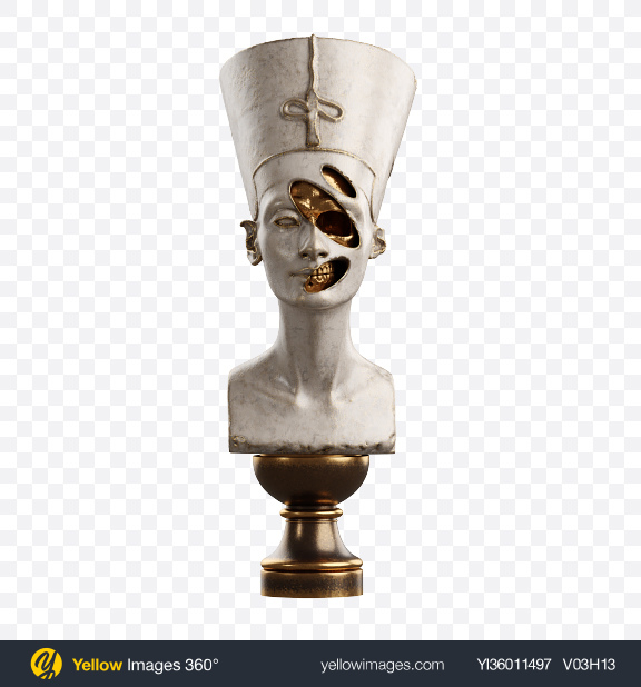 Download Bust of Nefertiti with Golden Details Transparent PNG on YELLOW Images
