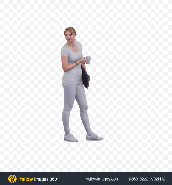 Download Woman with Cup and Folder Transparent PNG on YELLOW Images