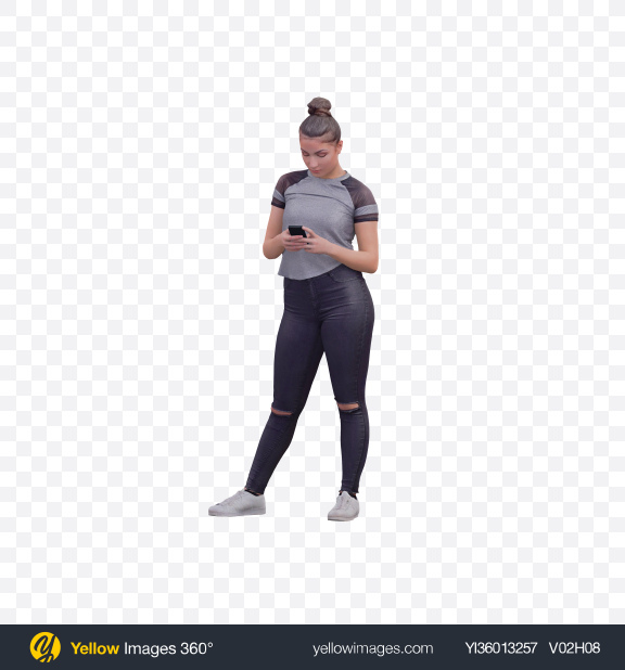 Download Woman Checking Phone Transparent PNG on YELLOW Images