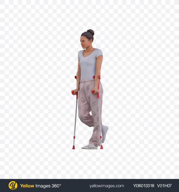 Download Woman on Crutches Transparent PNG on YELLOW Images
