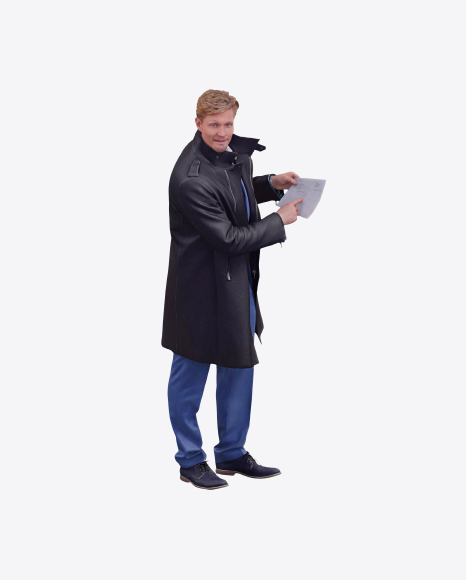 Man Pointing at Letter