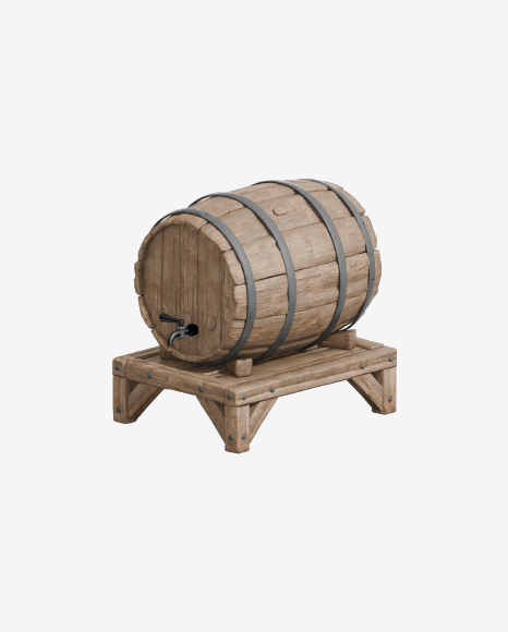 Wooden Barrel on Stand