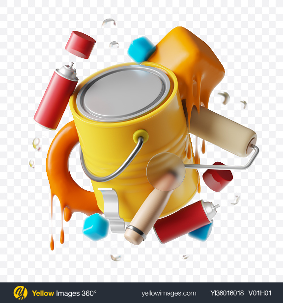 Download Abstract Paint Set Transparent PNG on YELLOW Images